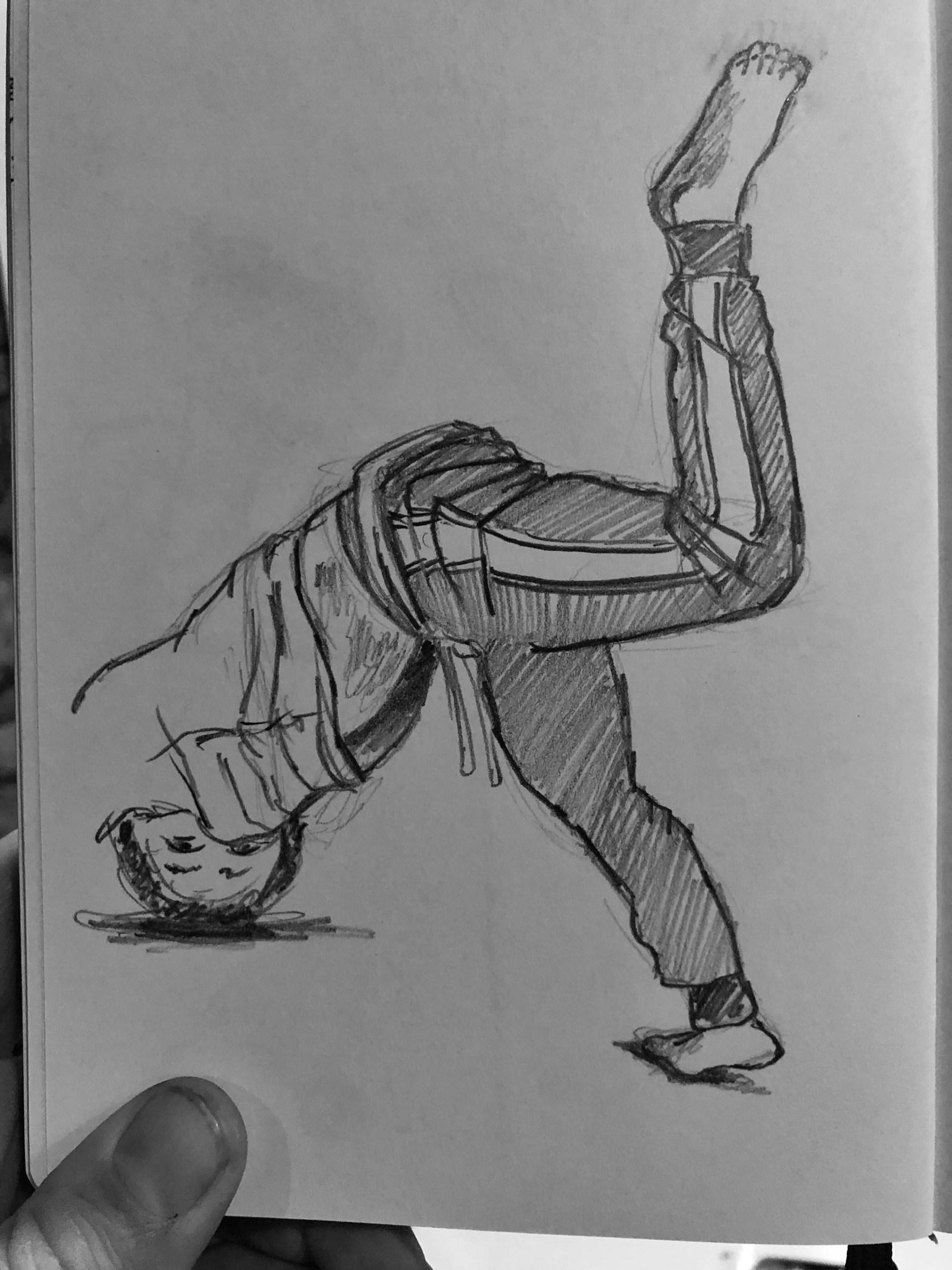Boy doing a break dance move. Pencil drawing.