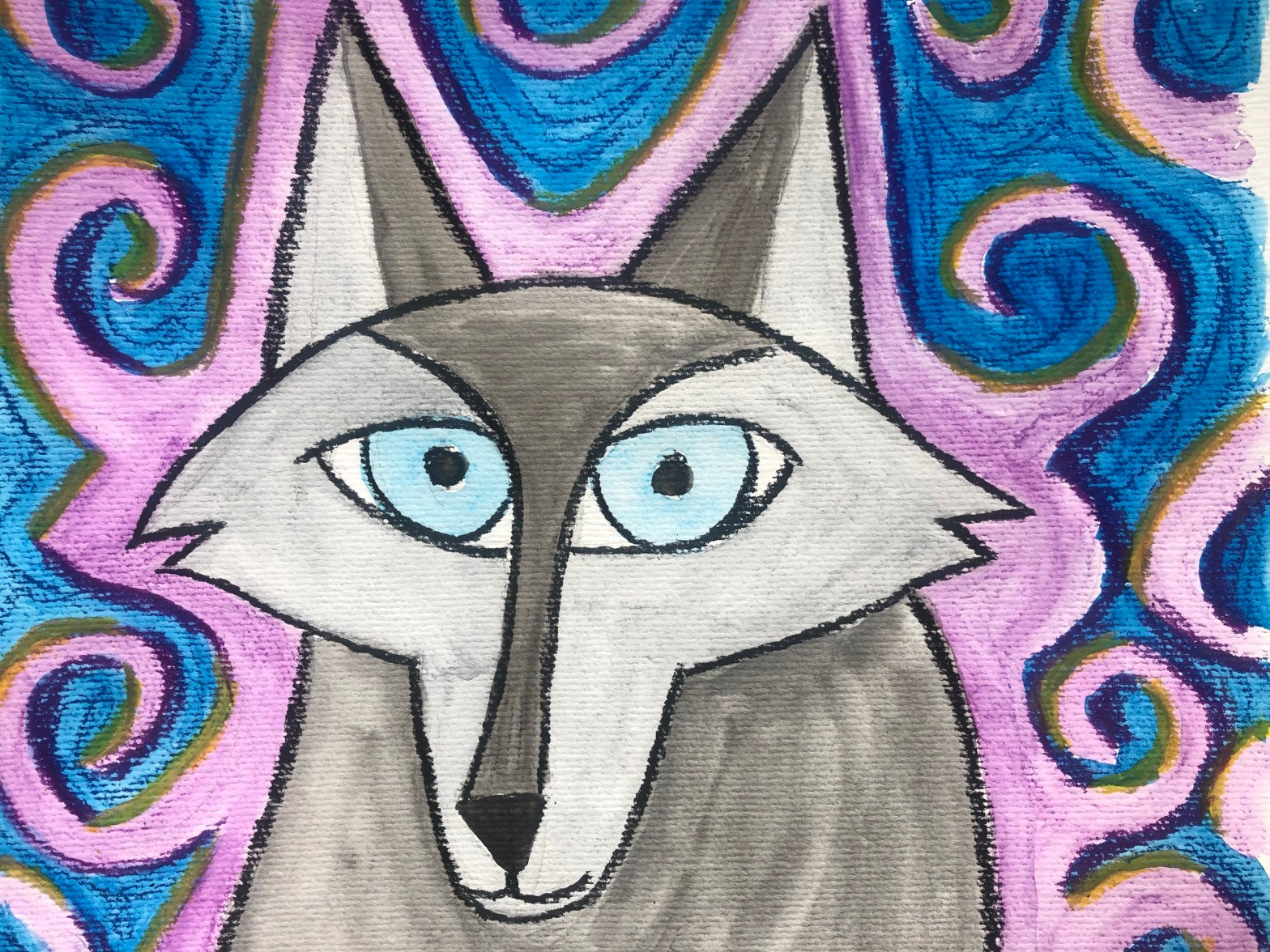 Close up of painting of Robyn as a wolf from the movie Wolfwalkers.