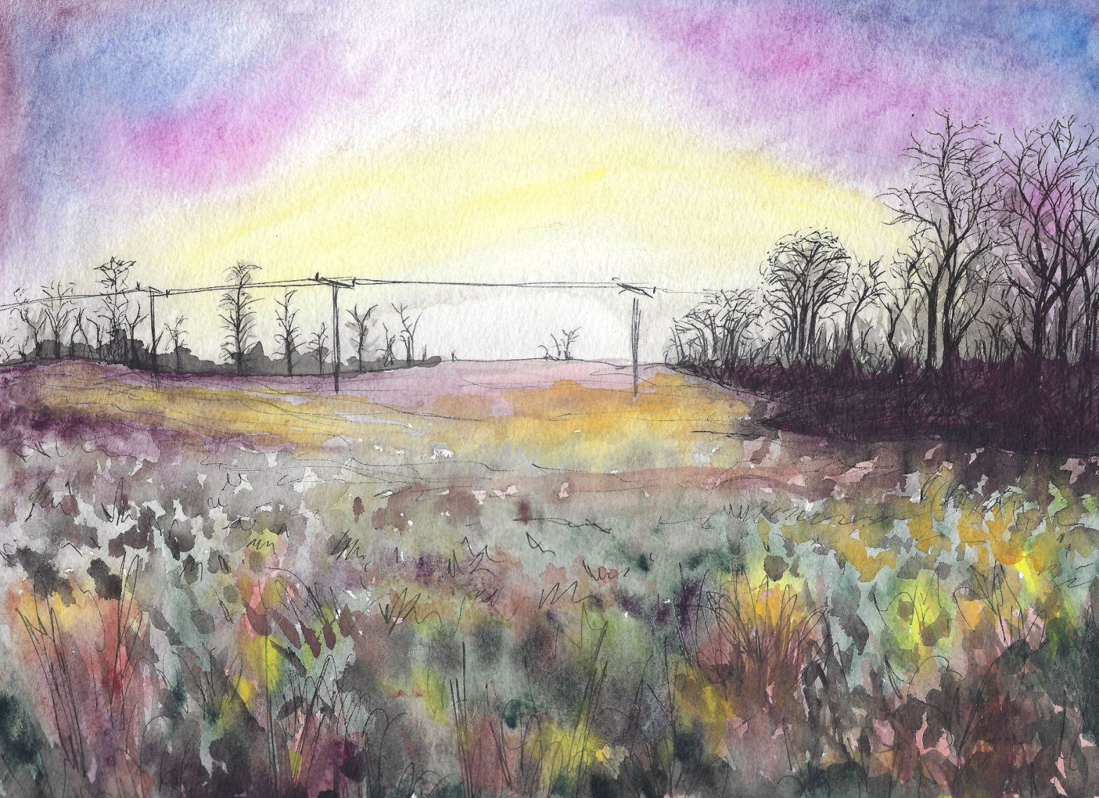 Watercolor painting of a winter field at sunset in Scotland.