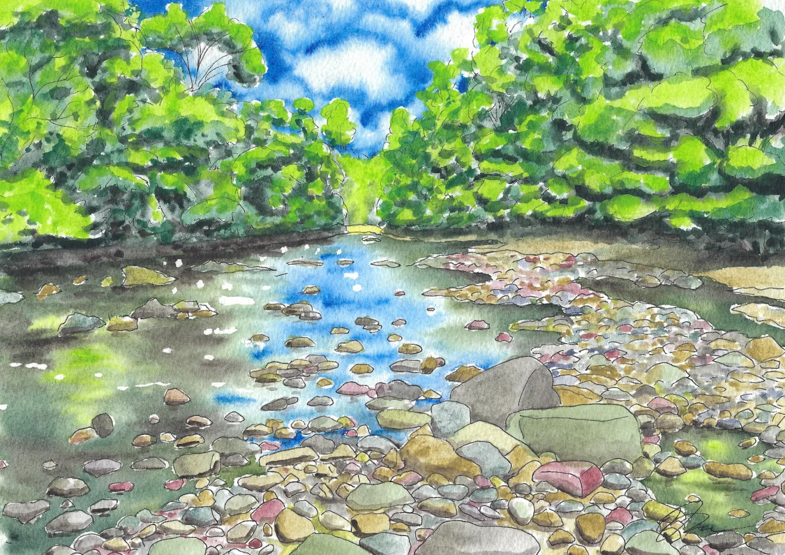 Watercolor painting of the river Avon.