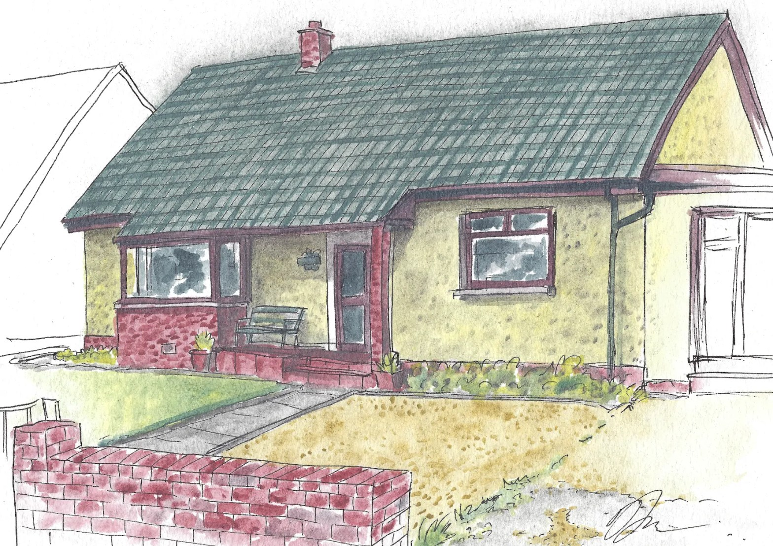 Watercolor painting of a house.